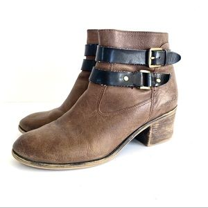 Franco Sarto Brown Leather Ankle Strap Boots